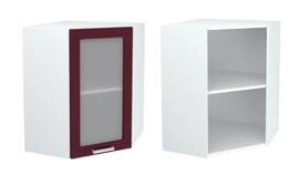 Шкаф верхний угловой со стеклом ШВУС 550 КР